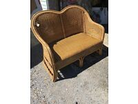 WICKER BENCH SEAT OUT DOOR PATIO CONSERVATORY SOFA SEATS 2-3