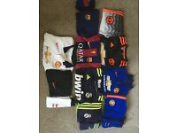 5 Boys football kits- Manchester Utd(3), Barcelona & Real Madrid.