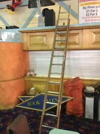 Double wooden ladder with aluminium treads