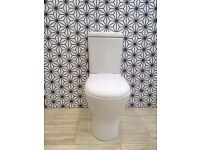 Round Modern Close Coupled Toilet WC With Soft Close Seat RRP £295