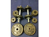 45KG York Cast Iron weights and dumb bells