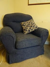 3 PEICE SUITE - WITH SOFA BED / FOOTSTOOL AND CUSHIONS