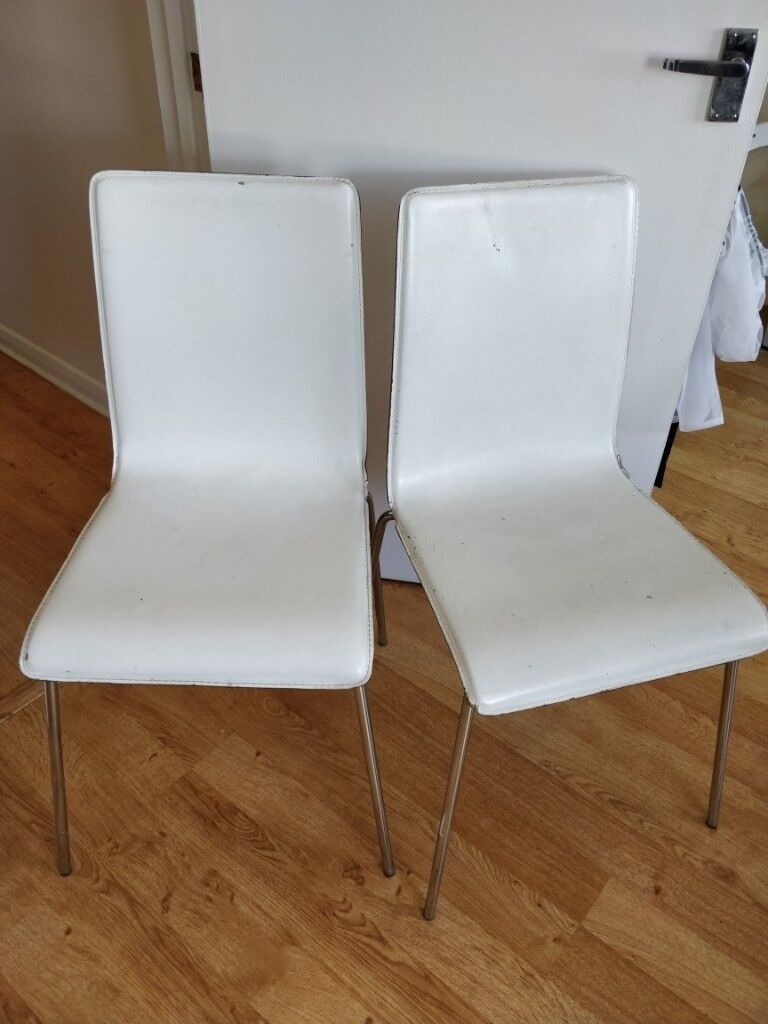 2 X White Leather Kitchen Chairs Ikea Dining Table