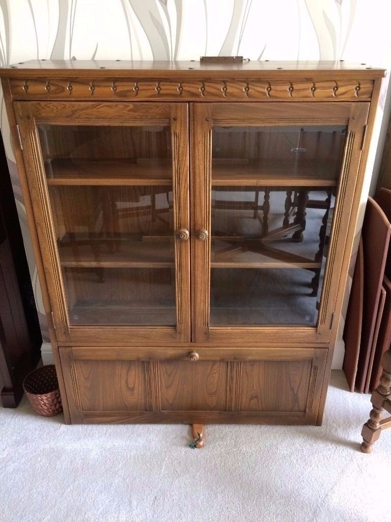 ERCOL DISPLAY CABINET IN SOLID ELM