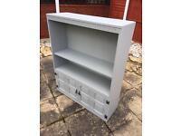 Solid wood painted cupboard, cabinet, TV unit, shelving grey