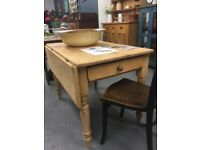 Stripped Victorian pine kitchen farmhouse table antique drop-leaf with cutlery drawer