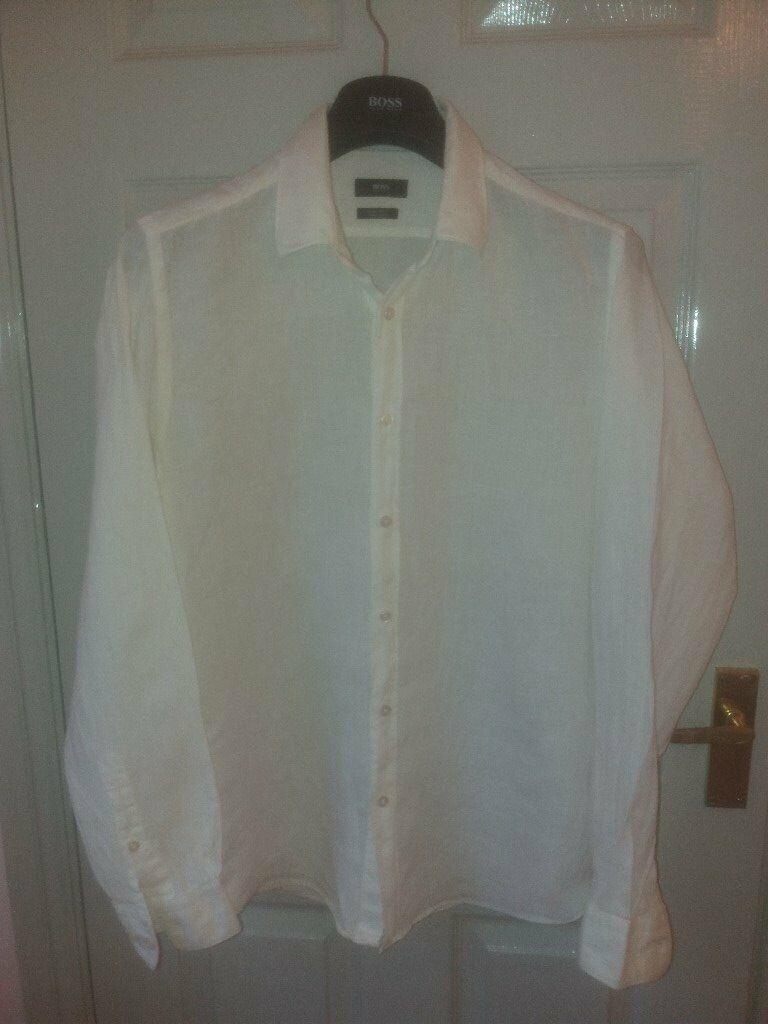 57cda444 Mens HUGO BOSS Black Label 100% Finest Italian Linen Shirts Size L Reg Fit