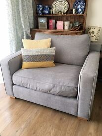 Grey Harvey's Love Seat and Storage Footstool
