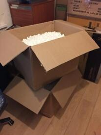 Polystyrene chips & Packing boxesx 2