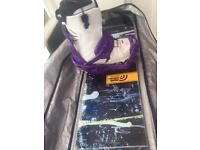 Snowboard (Signal) Boots (thirtytwo) and bindings (flux) with travel bag