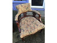 Gorgeous Victorian Upholstered Carved Back Ladies Tub Chair