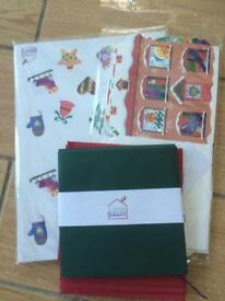 Box of card making kits, cards and papers