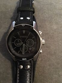 Fossil black watch waterproof