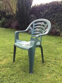 5 Green Plastic Garden Chairs