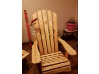 Red canadain chair and bench reclaimed wood