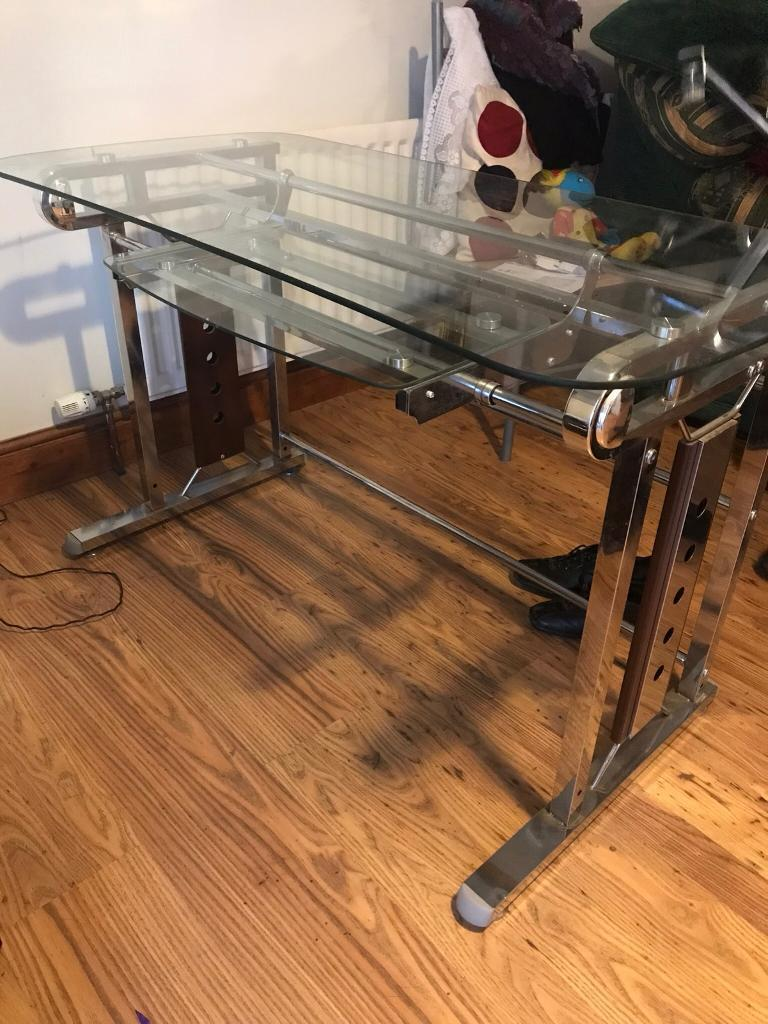Glass Top Computer Desk With Monitor Stand