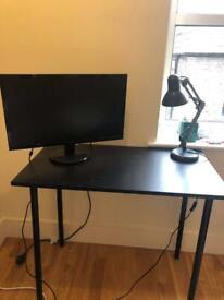 Monitor, Desk, Desk lamp
