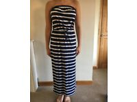 NEXT SIZE 10 NAVY AND WHITE STRIPED MAXI DRESS