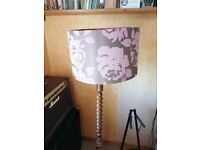 Antique turned wood floor standing lamp