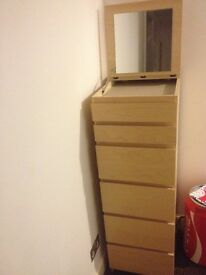 Tall chest of drawers with mirror