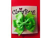 ClaraBow Green Bow with Diamanté Detailing