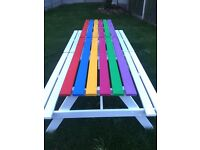 2 x garden bench's - white with multi coloured tops