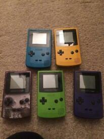 Various Nintendo gameboy color consoles