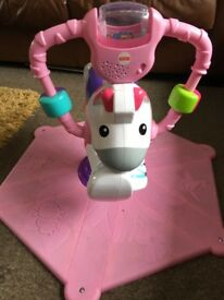Fisher Price Bounce and Spin Pink Zebra