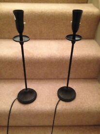 Pair of black table lamp stands