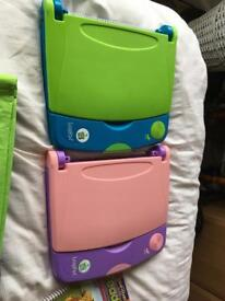 2 Leapfrog Leap pad books with cartridges and books