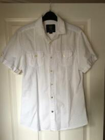 Mens Vintage White Short Sleeved Shirt - S