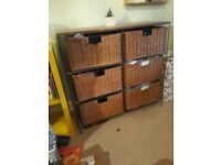 Wicker & solid wood chest of drawers