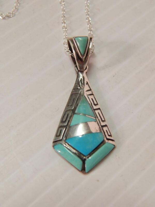 VINTAGE NAVAJO INDIAN CALVIN BEGAY SGND STERLING SILVER TURQUOISE INLAY NECKLACE
