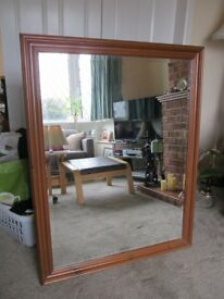 antique pine bevelled glass mirror