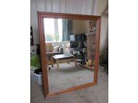antique pine bevelled glass mirror