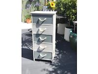 5 drawer grey And white Nautical chest of drawers, rope handles