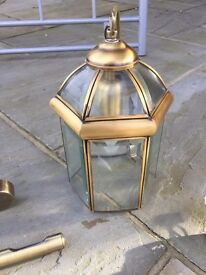 GLASS AND BRASS CEILING LIGHT AND BRASS PICTURE LIGHTS