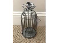 Silver Bird Cage Tea Light Holder