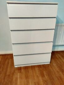 IKEA white chest of 5 drawers