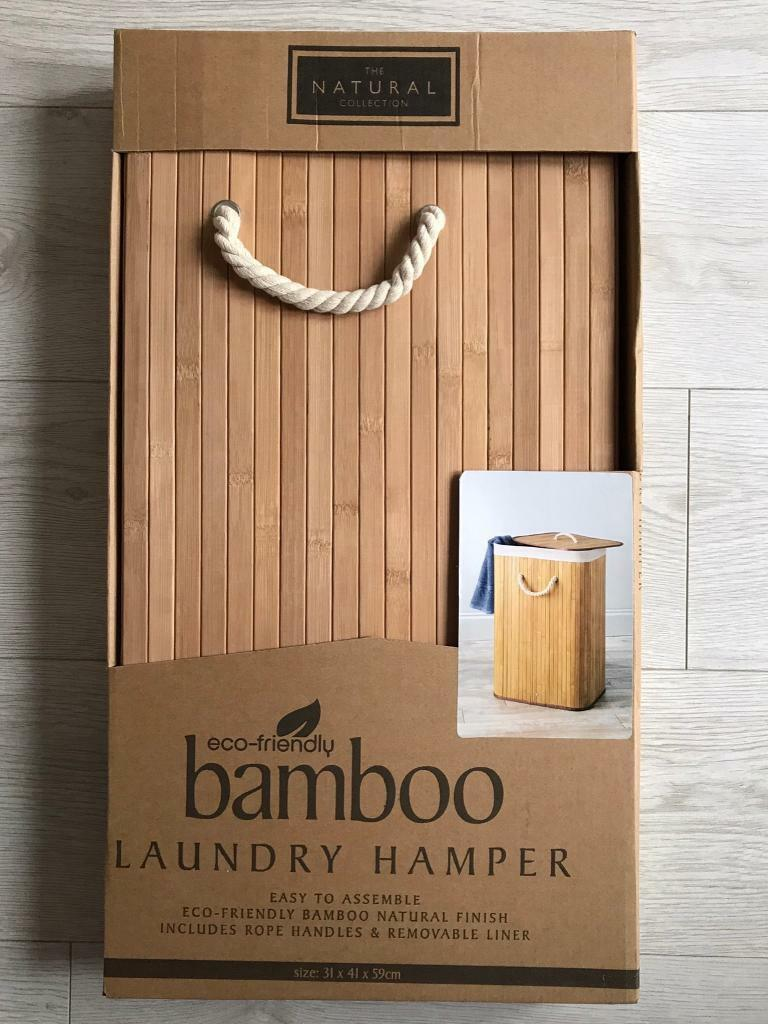 BRAND NEW THE NATURAL COLLECTION ECO-FRIENDLY BAMBOO LAUNDRY HAMPER