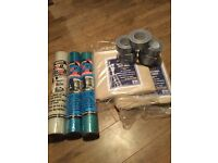 Job lot of roll and stroll,dust sheets and 7 rolls duke tape