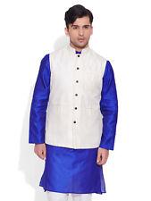 Very Me Men's Faux Silk Ivory Nehru Jacket(MFNJ1507)