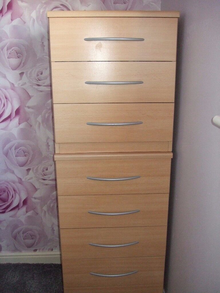 2x Bedroom chest of drawers in beech effect