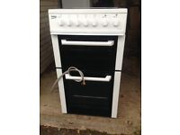 7 Months Old Beko BCDVC503W 50cm Electric Cooker in White, Double Oven, Ceramic Hob, Hardly Used