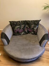 Large fabric swivel chair
