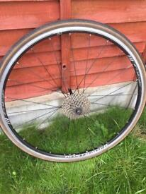 """Bike rear wheel complete 700 or 28"""" with 9 speed cassette"""