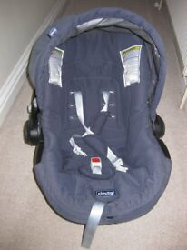 Navy and stripe Chicco travel system