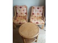 Two armchairs and table