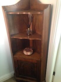 2 oak corner cabinets. one tall with leaded light display cabinet above and one with open shelves