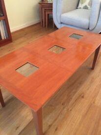 G Plan coffee table with glass inserts
